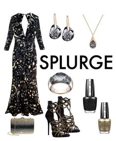 """Splurge"" by dtlpinn on Polyvore featuring Giuseppe Zanotti, RIXO London, Swarovski, OPI and Judith Leiber"