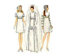 Robe de mariée Mod pour le vogue années 1960 modèle Regency Empire taille robe de mariée couture Vintage Pattern demoiselle d'honneur Vogue Bridal Design 2316 buste 32