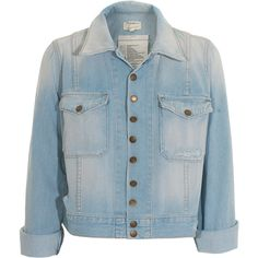 CURRENT/ELLIOTT Snap Parlor Destroyed denim jacket (€360) ❤ liked on Polyvore featuring outerwear, jackets, tops, vestes, casacos, straight jacket, cotton jacket, distressed denim jacket, denim jacket and cropped jean jacket