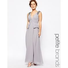 Little Mistress Petite Embellished Plunge Front Peplum Waist Maxi... ($120) ❤ liked on Polyvore featuring dresses, grey, petite, petite dresses, maxi dress, peplum dress, grey dress and embellished dress