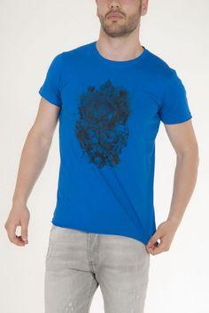 Κοντομάνικο μπλουζάκι μπλε με στάμπα μπροστά αντρικό sorbino
