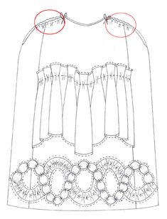 A diagram showing an 18th-century petticoat with slits to allow easy access to cloth pockets tied about the waist, underneath the petticoat.