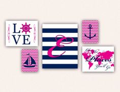 Collage wall nautical nursery print set for baby girls