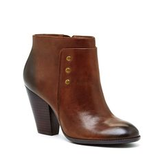 Women's Vintage Cognac Leather 3 1/4 Inch Round Toe Bootie | Erlina by Sole Society