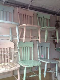 As soon as I find cool chairs I'm making those in these colours. Shabby Chic  ...