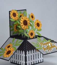 Sunflower Birthday Card, Box Card in Black and Yellow Sonnenblume Geburtstagskarte, Box Karte Fun Fold Cards, Folded Cards, Cute Cards, Diy Cards, Birthday Box, Birthday Cards, Yellow Birthday, Birthday Gifts, Birthday Greetings
