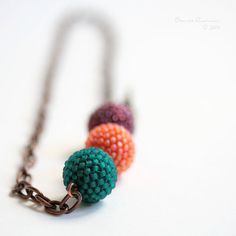 Three Bright Colors for Winter Beaded Beads Necklace. Teal, Orange and Garnet