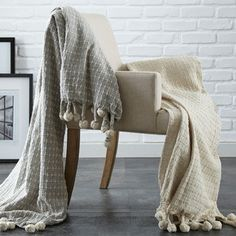 2-Pack Cross-Stitch Throws in Ivory