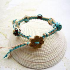 Lampwork bracelet, macrame bracelet, beaded macrame bracelet