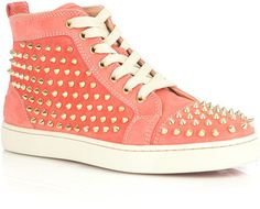 PINK STYLISH GENUINE LEATHER RIVETS STUDDED SNEAKERS $190.00