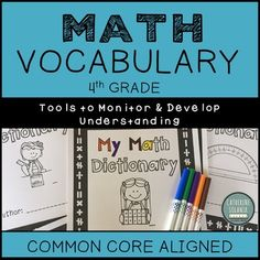 Grade My Math Dictionary & Teacher Tools Common Core Aligned I Hate Math, Love Math, Classroom Word Wall, Teacher Checklist, Student Voice, Math Vocabulary, Math Notebooks, Math Concepts, 4th Grade Math