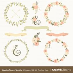 Rustic Wreaths Clipart Floral Vector
