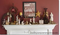 Using my Nativity Set, I'm thinking my mantel will be awesome next year!  Hello?  After Christmas Sales.