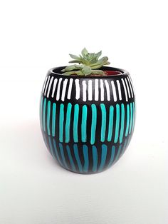 Small Cactus Succulent Planter, Tea light and Candle Holder, Simple Hand Painted Planter, Mini Planter, Flower Pot, Teal & Black Planter