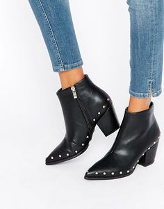 The Daisy Street Stud Heeled Ankle Boots are seriously stunning. The pointed toe and silver studs will take any outfit to street style level.