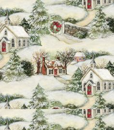Holiday Inspirations Fabric-Susan Winget Christmas Scenic