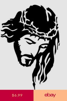Jesus Religious Silhouette Vinyl Decal/Sticker possibly use it as a scroll saw pattern Silhouette Vinyl, Silhouette Images, Jesus Drawings, Art Drawings, Pyrography Patterns, Pyrography Ideas, Jesus Face, Wood Burning Art, Scroll Saw Patterns