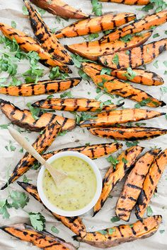 grilled sweet potato wedges with zesty honey-mustard dipping sauce