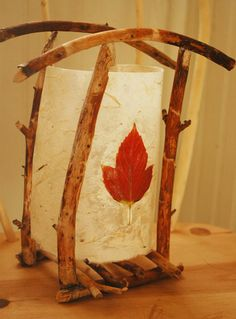 lantern. I could use a piece of my thinner handmade paper and a beautiful preserved leaf