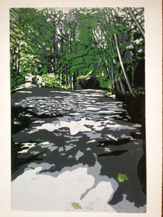 Shaded Path, original linocut of forest path, hiking in Seattle