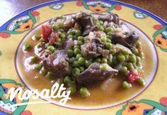 Zöldborsós csirkemájragu   Nosalty Bacon, Beef, Food, Meat, Essen, Meals, Yemek, Pork Belly, Eten
