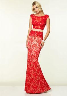 Scoop Floor Length Red Lace Sheath-column Prom Dress