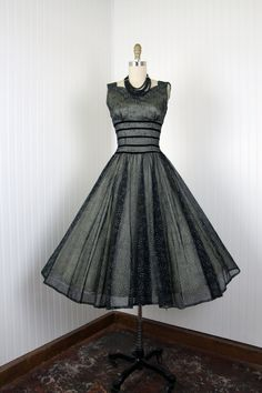 1950's Black Nude Flocked Chiffon Full Skirt Cocktail Dress