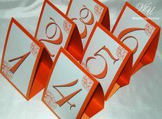 Elegant table numbers  Orange by WeddingUkraine on Etsy