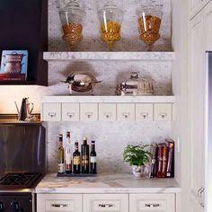 Kitchen Shelves Contemporary Storage Ideas 49 New Ideas Marble Shelf, Kitchen Design, Kitchen Decor, Open Kitchen Shelves, Shelves, Stylish Kitchen, Eclectic Kitchen Design, Kitchen Wall Shelves, Kitchen Storage