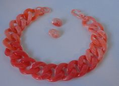 Coral Pink Marbleized LUCITE Chain and Clip by Cosasraras on Etsy