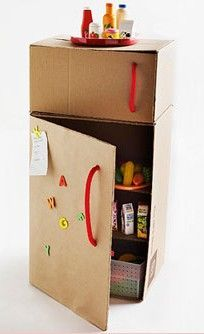 Cardboard Box Fridge: How-to instructions, along with other fun cardboard projects (castle, doll bed, gas pump & car) that offer hours of pretend play / CraigsListDad