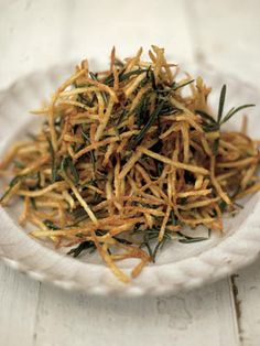 Crispy delicious shoestring potatoes with less than 300 calories per serving - from Jamie Oliver