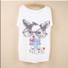 """Animal Print Tee New~Nerd Animal Print Tee New~Nerd Style- Loose Batwing Sleeve Length 25.98"""" Bust: 43""""-47"""" Soft and Comfy Fit~Fabric: 65%Cotton, 35%Polyester Smoke FREE Home No Tradefirm unless bundled Cute Tops Tees - Short Sleeve"""