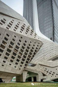 Zaha Hadid-Exterior of Nanjing Youth Olympic Centre, China. Parametric Architecture, Parametric Design, Futuristic Architecture, Facade Architecture, Beautiful Architecture, Contemporary Architecture, Chinese Architecture, Architecture Sketches, Architecture Wallpaper