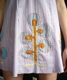 reverse applique Alabama Chanin skirt handsewn