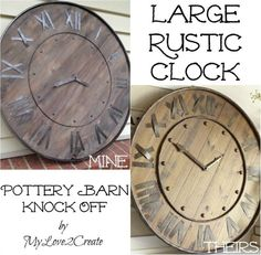 DIY Uhr Holz - - - - - This Pottery Barn rustic clock knock off is easy to make using this step by step tutorial. It would look great over a fireplace or even outdoors on a patio! Diy Wall Decor, Diy Home Decor, Room Decor, Coastal Decor, Decor Crafts, Diy Design, Pottery Barn Hacks, Pottery Ideas, Baby Dekor