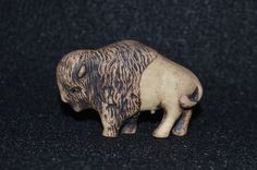 Vintage  Bison Figurine, Miniature Bison Statuette, Bison Carving, American Bison Figurine, Buffalo Figurine, Collectible Bison Statue by FabulousVintageStore on Etsy