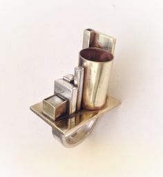Heidi Abrahamson. Industrial Little Sculpture Ring. Sterling & Brass
