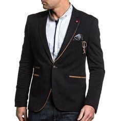 34645c10a9f BLZ Jeans - Veste de costume noir homme chic à coudières marron - pas cher  Achat   Vente Blouson homme