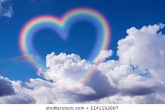 Hearts Stars Background Images, Stock Photos & Vectors - Heart shape rainbow in the sky. Rainbow Quote, Rainbow Sky, Rainbow Pastel, Rainbow Heart, Rainbow Colors, Rainbow Wallpaper, Galaxy Wallpaper, Rainbow Aesthetic, Blue Aesthetic