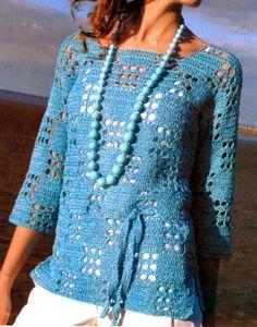 tejidos artesanales en crochet: remera en celeste tejida en crochet
