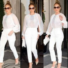 Jlo in white Jenny From The Block, White Chic, Jennifer Lopez, Shades Of Blue, White Jeans, Nude, Wedding Outfits, Pants, Clothes
