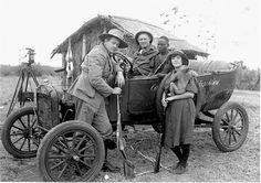 Martin and Osa Johnson with John Walsh, Model T Auto