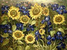 Van Gogh- Field of sunflowers davidcharlesfoxexpressionism.com<<<<My grandmother's favorite flower