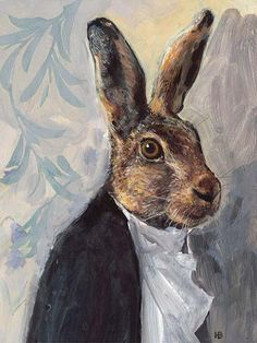 Harry Bunce: title unknown [hare in white dress shirt and black jacket]. Medium unknown.