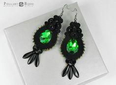 Black soutache earrings Black jewelry Soutache bilateral Long earrings Green soutache by PollartBijouSoutache on Etsy