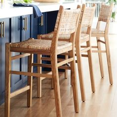 W x D x H - Kiln-dried Solid-oak Base with Woven Rattan Seat - Sullivan Woven Dining Counter Stool, Natural - Williams Sonoma Woven Bar Stools, Counter Stools With Backs, Rattan Bar Stools, Dining Stools, Kitchen Counter Stools, Dining Room, Modern Counter Stools, Wicker Counter Stools, Leather Counter Stools