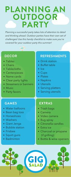 All you need to plan an outdoor party! More