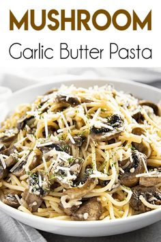 Garlic Butter Mushroom Pasta - The Salty Marshmallow - Garlic Butter Mushroom Pasta is a simple pasta dish that makes for a flavorful weeknight dinner! Spaghetti noodles combine with sauteed mushrooms in a decadent butter garlic sauce! Garlic Butter Pasta, Garlic Butter Mushrooms, Garlic Sauce, Healthy Pasta Recipes, Vegetarian Recipes, Cooking Recipes, Vegetarian Diets, Cooking Ribs, Mushrooms