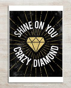 Shine On You Crazy Diamond 8x10 inches on A4. Pink by mercimerci